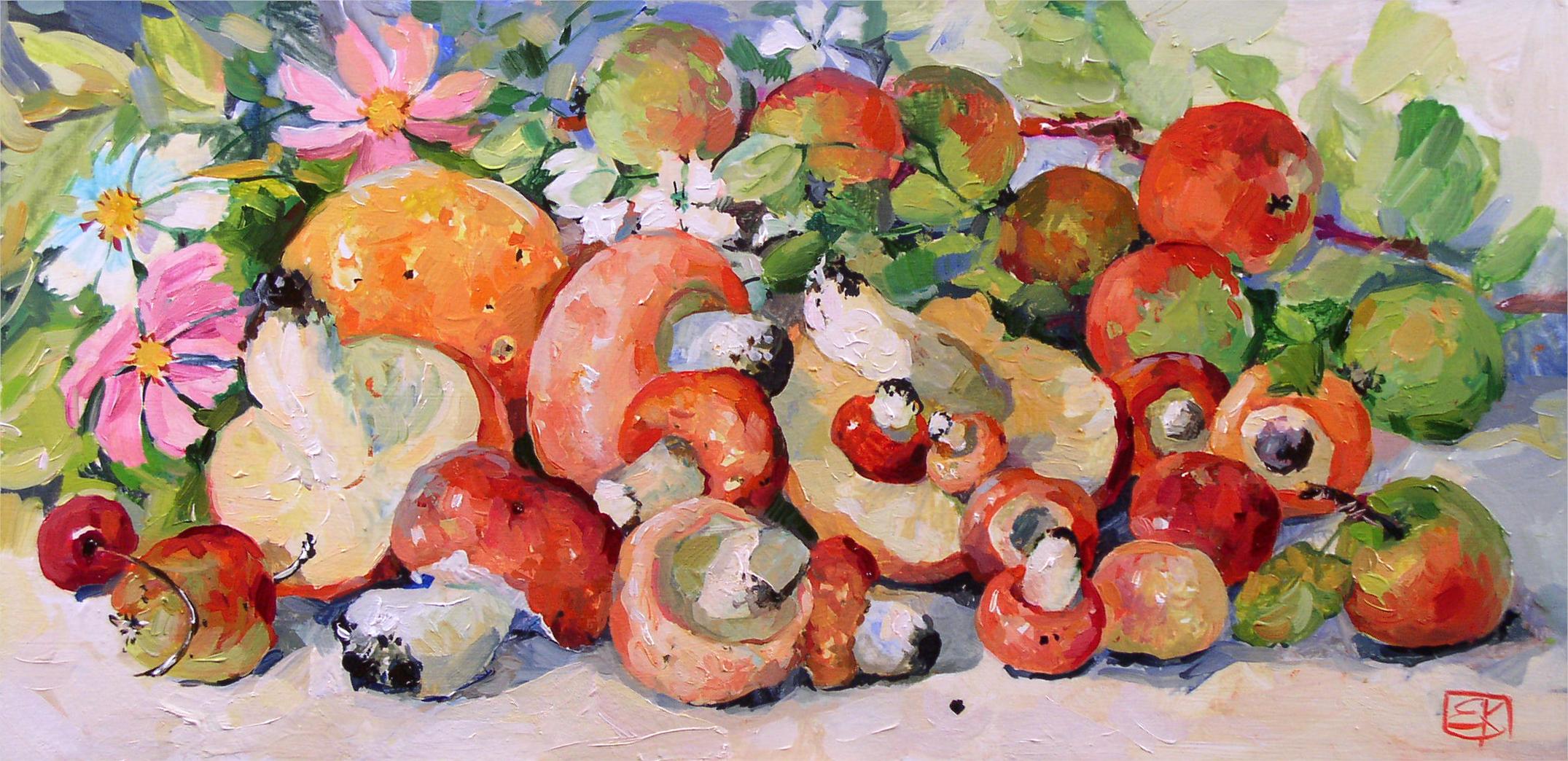 Картина Натюрморт с грибами Новые передвижники художник Корнеева