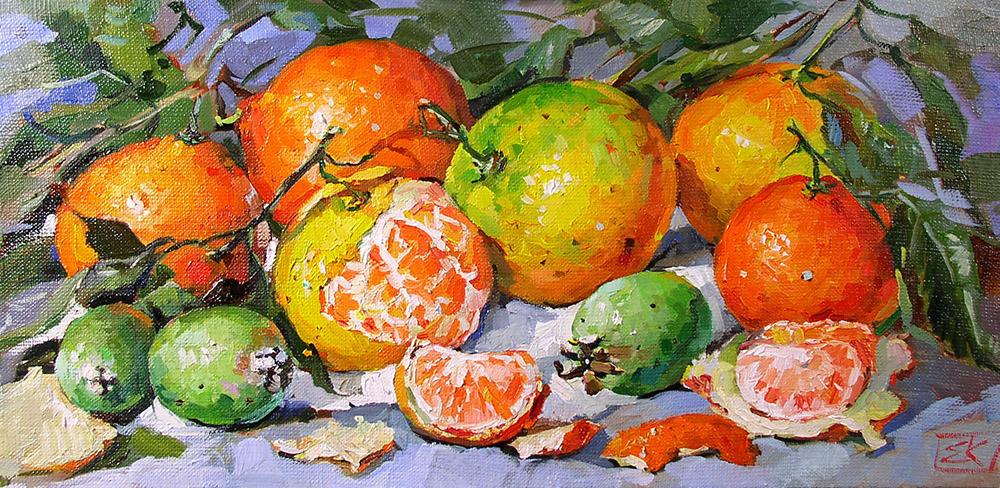 Картина Натюрморт с мандаринами Новые передвижники художник Корнеева
